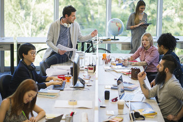 Creative professionals using shared office space