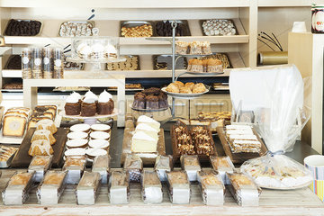 Desserts displayed in bakery