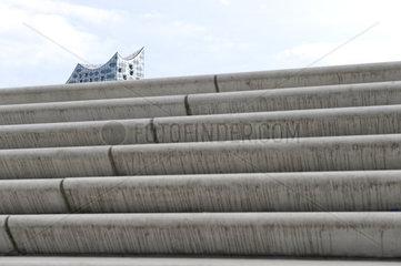 Hamburger Hafenrand-Promenade zwischen Landungsbruecken und Ueberseebruecke