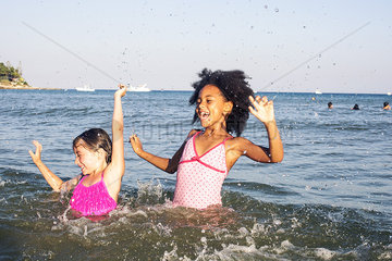 Girls playing in water