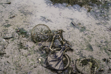 Old bicycle in polluted stream