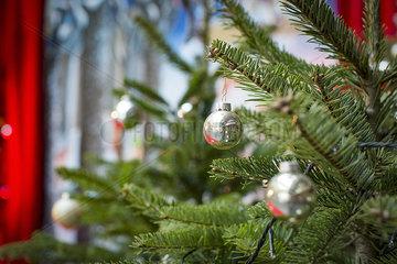 Ornaments hanging on christmas tree