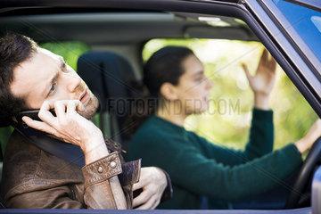 Couple stuck in traffic