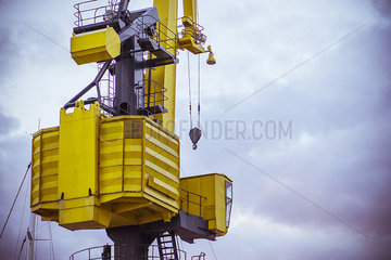 Rear view of crane at construction site