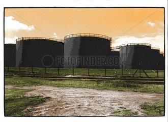 Tanks Oel Raffinerie Ressourcen Reserven Rohstoffe Umwelt Vorraete Ausbeutung