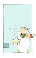 Mitgefuehl Trost Helfen Tee Schale Traurig