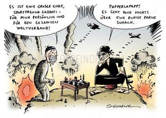 Gaddafi Schachpartie Vorstandsvorsitzender Weltschachverband Bomben fallen