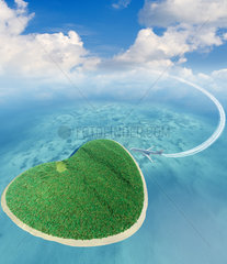 Island in the form of heart and the flying plane