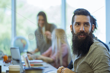 Freelance worker using shared office space