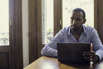 Writer contemplating ideas