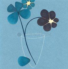 Blumen Blau Vase