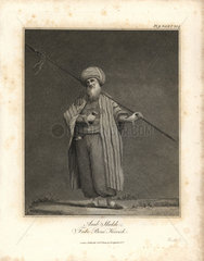 Arab sheikh from Bruce's Travels to Discover the Source of the Nile  1790.