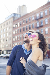 Couple sightseeing in city