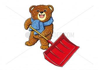 Teddybaer mit Schneeschaufel