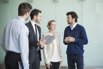 Business professionals sharing ideas