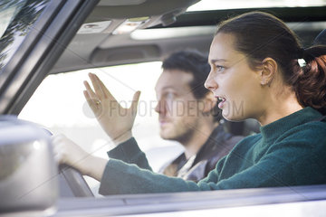 Driver frustrated by traffic