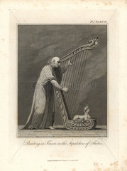 Fresco of harpist from Bruce's Travels to Discover the Source of the Nile  1790.