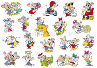 Stickerserie Maus Gesamtansicht