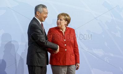 Lee Hsien Loong  Premierminister Singapur und Angela Merkel (CDU)  Bundeskanzlerin