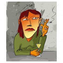 Rauchende Frau Raucherin Zigaretten Portrait Alkohol Schnaps