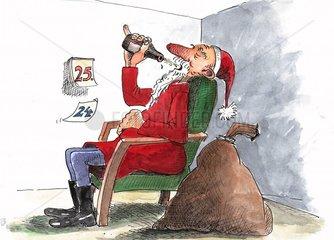 Geschafft Weihnachtsmann Feierabend 25. Dezember