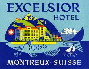 alter Hotelaufkleber Montreux  1965