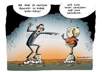 Euro-Krise Kritik Obama Merkel