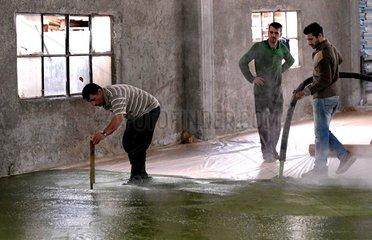 SYRIA-ALEPPO-LIFE-OLIVE-SOAP-MAKING