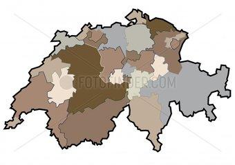 Landkarte Schweiz Kantone