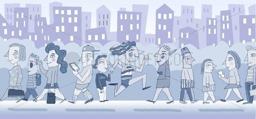 Leute gehen auf die Strasse und den Buergersteig in der Stadt