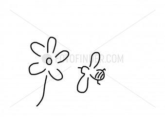 Biene vor Blume zum Honig sammeln
