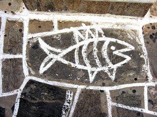 Serie Griechenland Pflastermalerei Fisch Paros