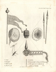 Abyssinian weapons from Bruce's Travels to Discover the Source of the Nile  1790.