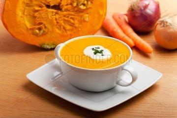 Kuerbissuppe in einer weissen Suppentasse