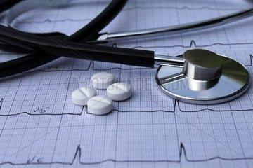 EKG mit Tabletten und Stethoskop