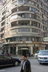 Shanghai  abgerundete Hausecke in der Altstadt