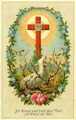 Gebetszettel zu Ostern  Lamm Gottes  1884