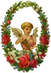 Liebesengelchen im Blumenkranz  Poesiebild  1890