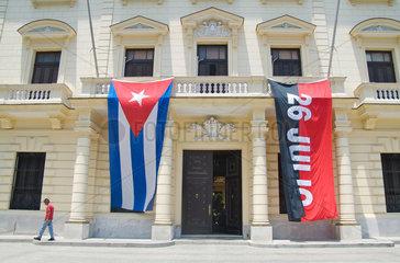 Havanna  Kuba  Beflaggung zum Kubanischen Nationalfeiertag 26. Juli
