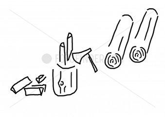 Holz machen und spalten mit Beil und Baumstamm