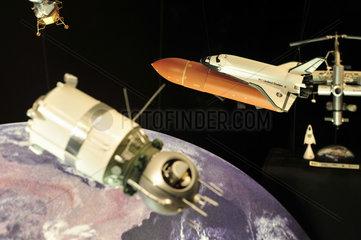 London  Grossbritannien  ein Modell zur Raumfahrtsgeschichte im Wissenschaftsmuseum