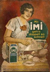 Hausfrau beim Spuelen  Reklame fuer IMI von Henkel  1929