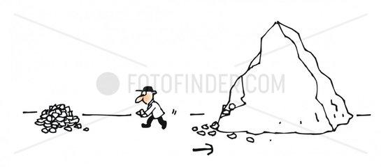 Bergbau steine abtragen kiesel
