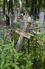 Sopockin  Weissrussland  ein morsches Kreuz auf einem ueberwiegend katholischen Friedhof