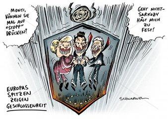 Aufzug Stopp Europa Fuehrungsteam