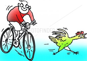 Fahrrad Huhn Kind