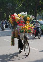 Hanoi  Vietnam  Blumenhaendlerin auf dem Fahrrad