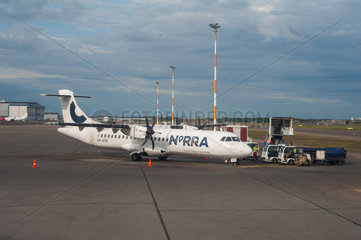 Helsinki  Finnland  ATR-72 Passagierflugzeug der Norra auf dem Flughafen Vantaa