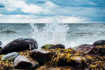 Germany  Ruegen  water splashing at the coast