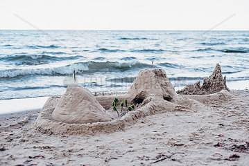 Germany  Ruegen  sandcastle on the beach